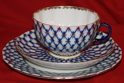 Russian Imperial Porcelain, Cup, Saucer & Plate, Cobalt Net, Tulip • 90£