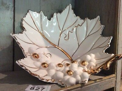 FRUIT DISH - GRAPE VINE LEAF WITH GRAPES - White & Gilding - VGC Made In ITALY • 25£