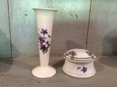 Vintage Small Trumpet Bud Vase Axe Vale Violets Paired With Earlier Trinket Box • 20£