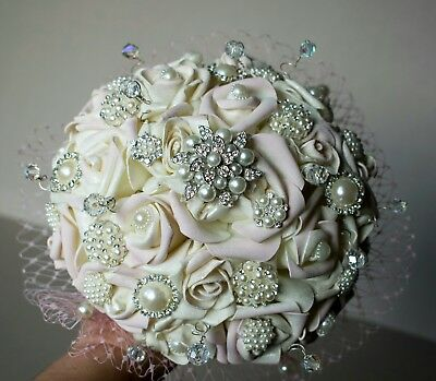 Alternative Wedding Bouquet,hand Painted Blush Roses,brooch,vintage,any Colour • 68.95£