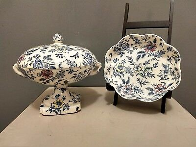 Empire Chintz Blue Floral Compote With Matching Dish England • 23.61£