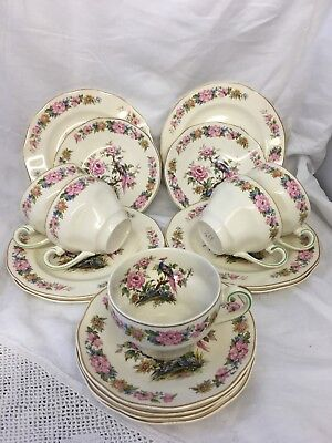 Vintage Wedgwood & Co England Tea Set For 5 ~ Floral With Exotic Bird 5 X Trio • 40£