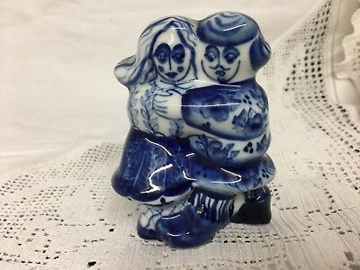 A Porcelain Blue And White  FIGURINE Of LOVERS A Couple Signed On Base H. A. • 20£