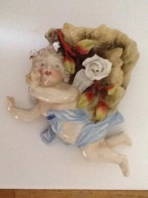 Early 20th Century Cherub Wall Pocket • 45£