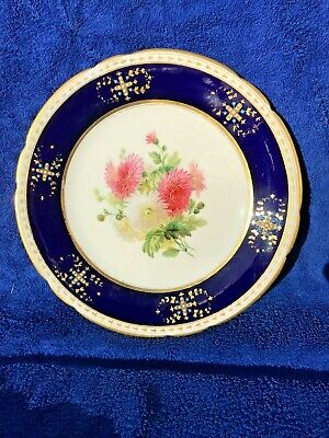 19th Century Sevres / Coalport ? Porcelain Jewelled Plate Floral / Beau Blue • 140£