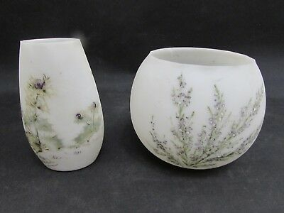 2 Antique Dolhain Wirths Belgium Opalescent Souvenir Vases Depicting Flowers • 25.95£