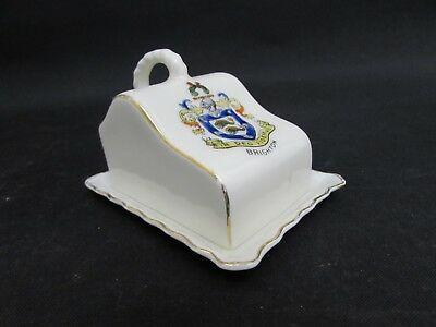 Vintage Gemma Crested Ware China Butter Dish, Crest For Brighton • 6.95£
