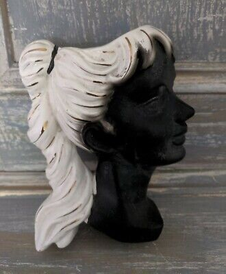 1950's Vintage Porcelain Decorative Wall Pocket / Vase - Girl With Ponytail • 19.99£