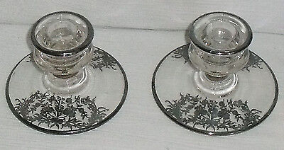 Silver Overlay Candle Holders Taper Floral Vtg 2.75  Flowers Candleholders Pair • 11.92£