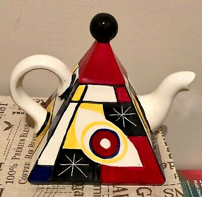 HAND PAINTED POTTERY TEAPOT Inspired By Mondrian • 25£