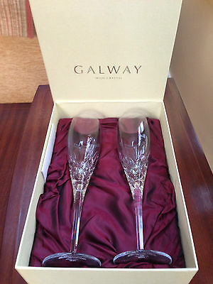 Galway Crystal Champagne Flutes X 2 • 15£
