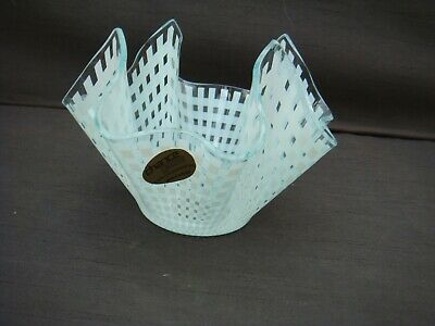 Vintage Chance Glass Handkerchief Vase Bowl White Gingham  + Label  • 9.99£