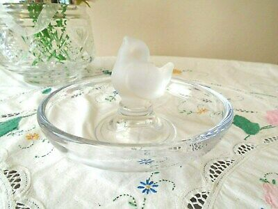 Beautiful Vintage Heavy Crystal Glass Bowl With Bird Signed Sevres France • 17.50£