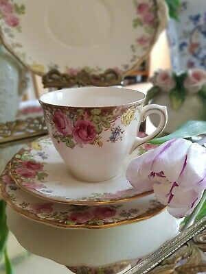 Antique Royal Doulton English Rose Trios Coffee Cup And Tea Plates 18 Pieces Set • 149.99£