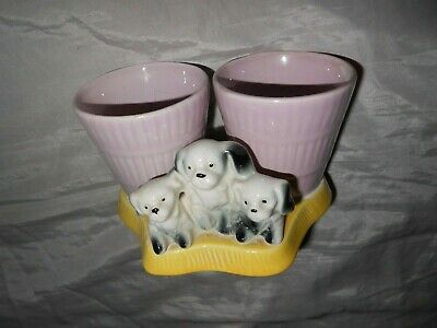 Eastgate Pottery Puppies Pink Yellow Spill / Matchbox Holder / Posy Vase  • 12£