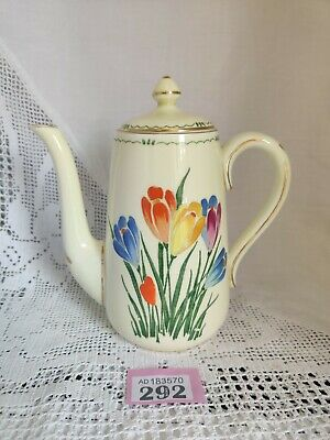 "Stunning CROWN STAFFORDSHIRE IVORY / FLORAL DECORATED Coffee Pot CROCUSES 7.25""H • 22£"