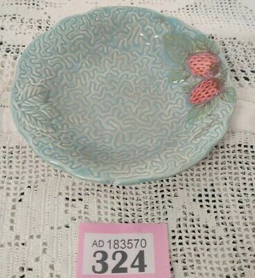 "Vintage Melba Ware Turquoise Blue Textured Dish Strawberry Design 5.25"" D • 15£"