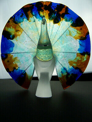 Guy Petitfils For Daum - Crystal & Pate De Verre Glass Peacock - Perfect - 11 In • 995£