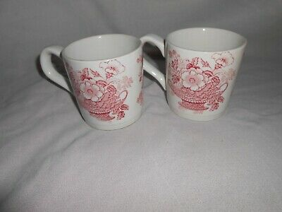 2 Vintage Staffordshire Pottery Myott Florence Red White Floral Earthenware Mugs • 14£