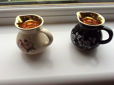 2 Minature Prinknash Pottery Cream Jugs With Immaculate Gold Lining. • 10£