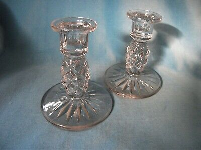 Pair Of Moulded Glass Candlesticks – Ref 1930 • 10.50£