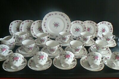 Vintage Queen Anne Pink Roses China Teaset 14 Trios Cake Plate  Etc 45 Pieces • 75£