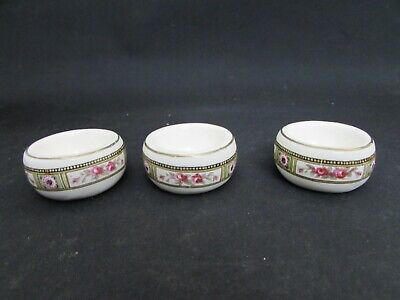 3 Antique Small Size Condiment Salts With Printed Rose Designs • 19.95£