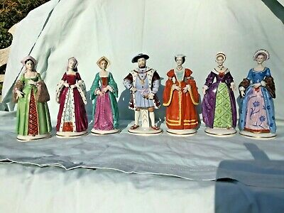 Early 20th C Sitzendorf German Porcelain Henry VIII & His 6 Wives / 7 Figurines • 330£