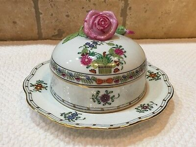 Herend Indian Basket Covered Butter Dish W/ Rose Handle • 158.31£