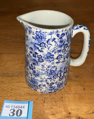Heron Cross Pottery Blue White Chintz English Large Jug Floral • 16£