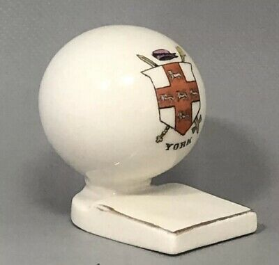 Crested Ware Porcelain Golf Ball On Tee - YORK Crest - Rare • 7.50£