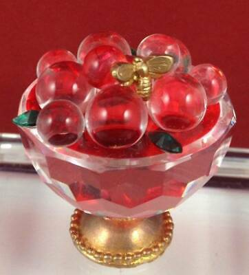 Miniature Crystal Glass Footed Bowl Of Cherries Fruit Gold Bee Ornament Figurine • 14.99£