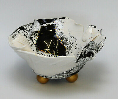 Attractive Large Abstract Art Pottery Bowl With Gold Ball Feet • 75£