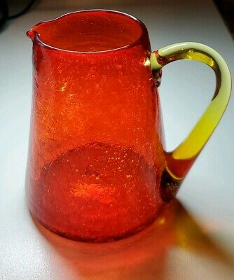 Pre-loved Vintage 5  Red Crackle Glass Pitcher With Amber Handle  • 15.81£
