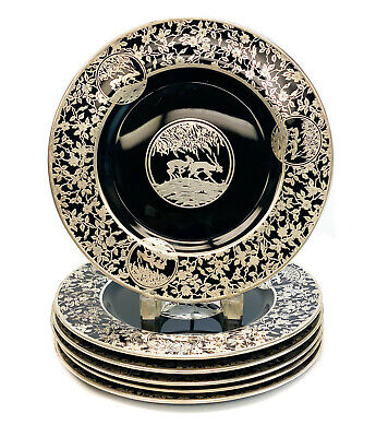 6 Rockwell Black Amethyst Glass Sterling Silver Overlay Charger Platters, Fauna  • 586.58£