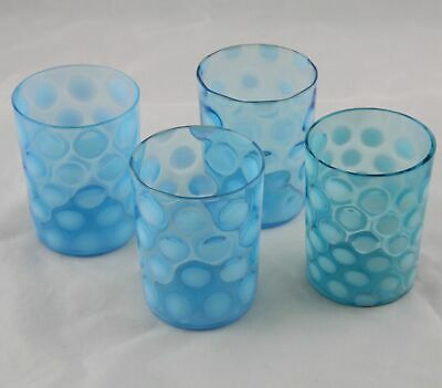 4 Victorian Blue Opalescent Coin Spot Glasses 3-3/4  • 58.24£