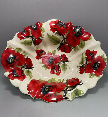 Vintage Heron Cross Pottery Staffordshire Red Poppies Large Serving Fruit Bowl • 18£
