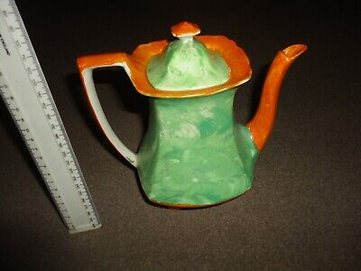 Vintage Impressive Art Deco Myott & Son Hand Painted Tea Pot Orange Mottle Green • 29.99£