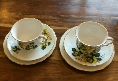 PAIR VINTAGE Queen Ann Bone China Tea Cup Saucer Side Plate Set Yellow Roses  • 15£
