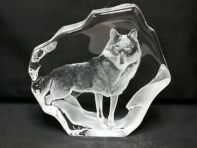 Mats Jonasson Signature Collection Wolf Sweden Crystal P918 • 60£
