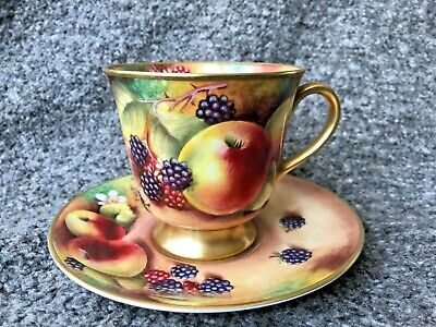 Royal Worcester Artist Terry Nutt Cabinet Cup And Saucer Hand Painted Fruits • 150£