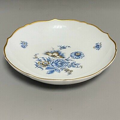 Vintage Porcelain Kaiser, W Germany Friederike Blue And Gold Roses Flowers Dish • 12£