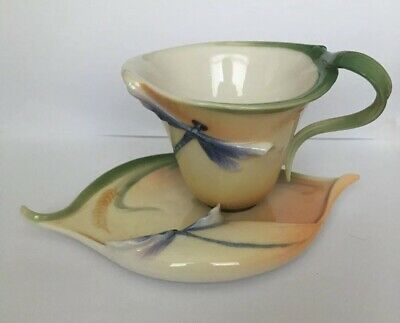Franz Porcelain Dragonfly Cup And Saucer In Oranges • 60£