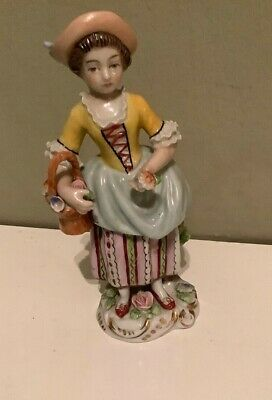 Sitzendorf Continental Antique German Porcelain Figurine Young Girl • 30£