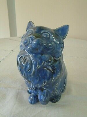Early Rare Vintage Signed David Sharp Blue Glazed Cat - Before Rye Pottery?  • 44.99£