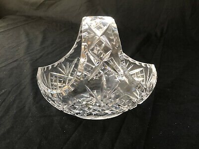 Beautiful Crystal Cut Glass Basket - Fruit Bowl Or Centrepiece - Heavy! • 12.50£