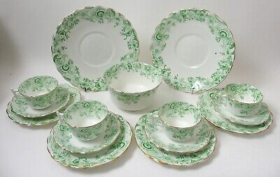 Lovely Antique English Victorian Green Transfer Print Decorated Part Teaset • 35£