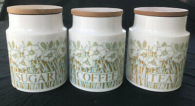 3 X Hornsea Fleur Large Storage Jars/ Canisters - Tea, Coffee, Sugar - 1970s • 12£