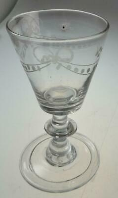 NICE GEORGIAN DRINKING GLASS C.1790 FOLDED FOOT CLASSICAL SWAG ENGRAVING No. 2 • 32£