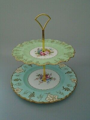 Vintage Royal Crown Derby Vine Two Tier Cake Stand • 49.99£